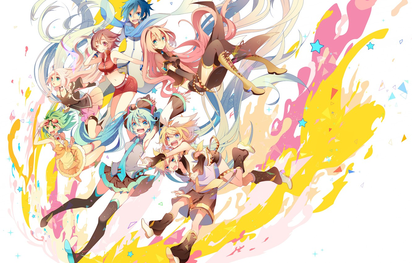 Photo wallpaper style, paint, anime, art, white background, Vocaloid, Vocaloid, characters