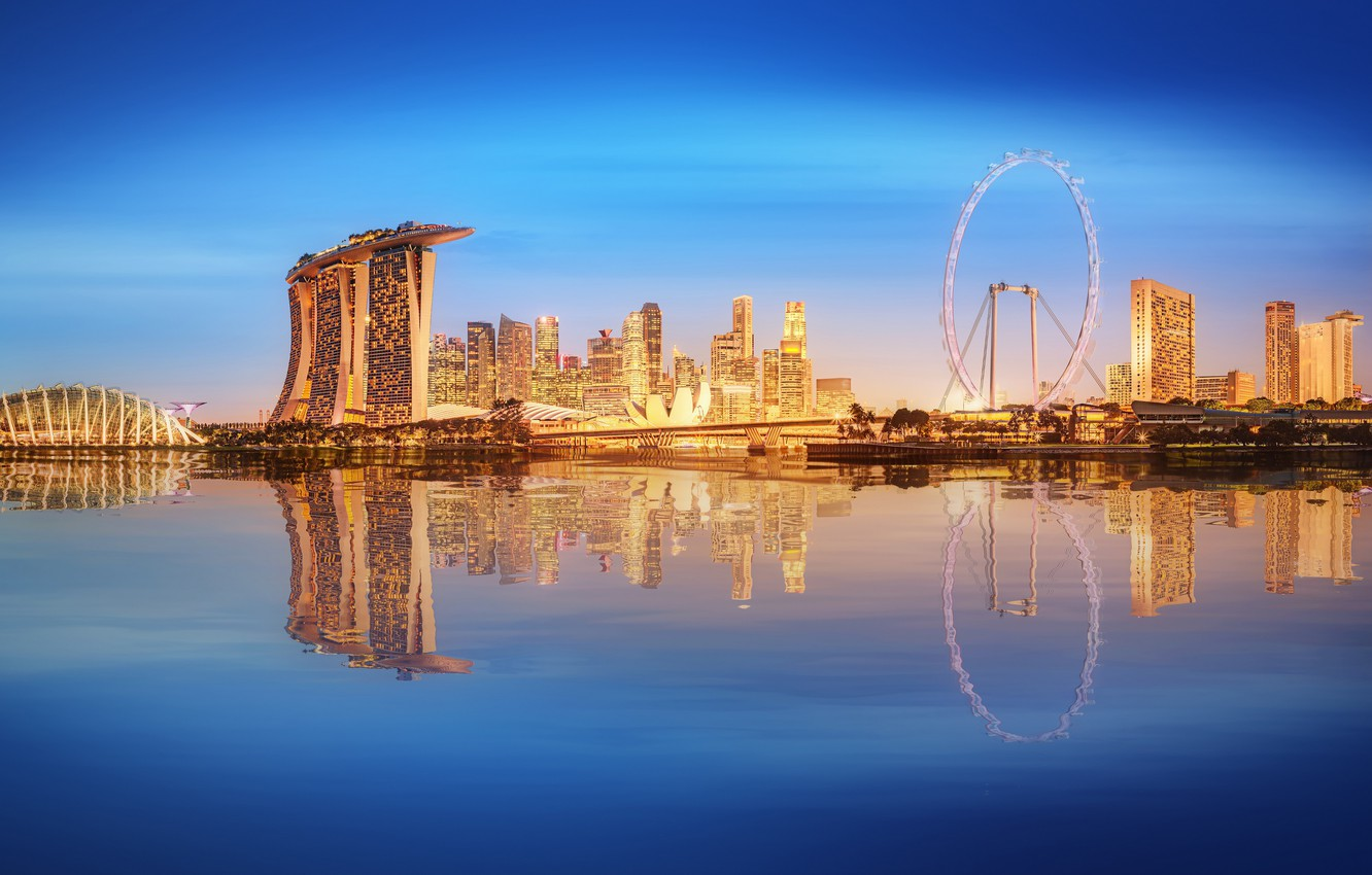 Photo wallpaper sea, landscape, lights, lights, skyscrapers, Singapore, architecture, megapolis, blue, night, fountains