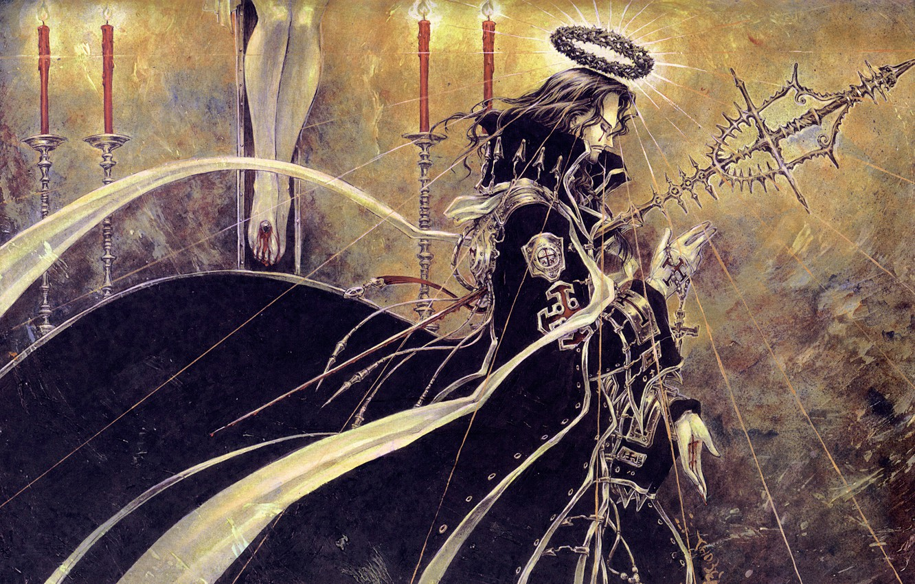 Photo wallpaper lights, blood, cross, candles, rod, trinity blood, halo, the crucifixion, prayer, the crown, Trinity blood, …