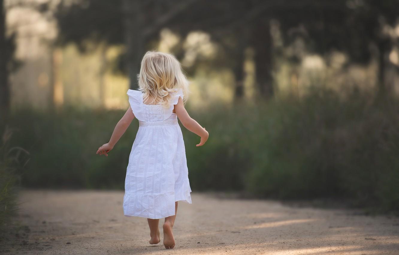 Photo wallpaper road, dress, girl, barefoot