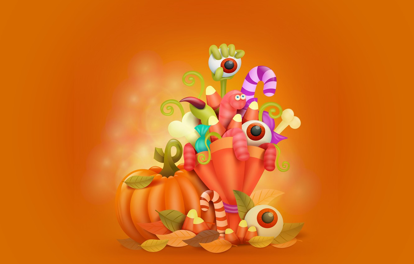 Photo wallpaper eyes, leaves, holiday, pumpkin, worms, Halloween, vector graphics