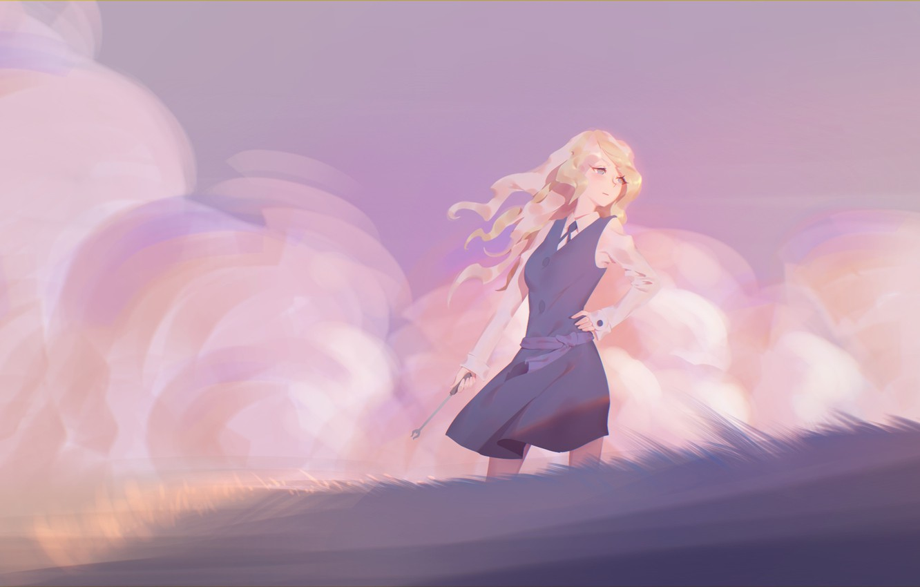 Photo wallpaper girl, anime, art, form, maredoro, little witch academia, diana cavendish