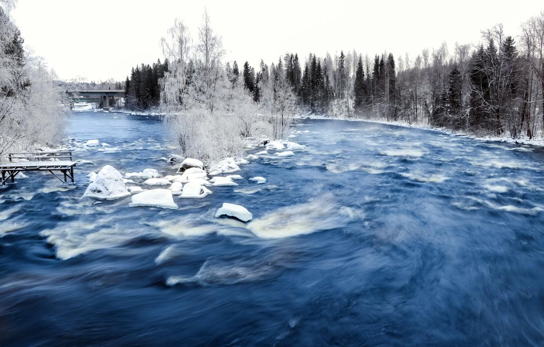 Photo wallpaper winter, bridge, nature, river