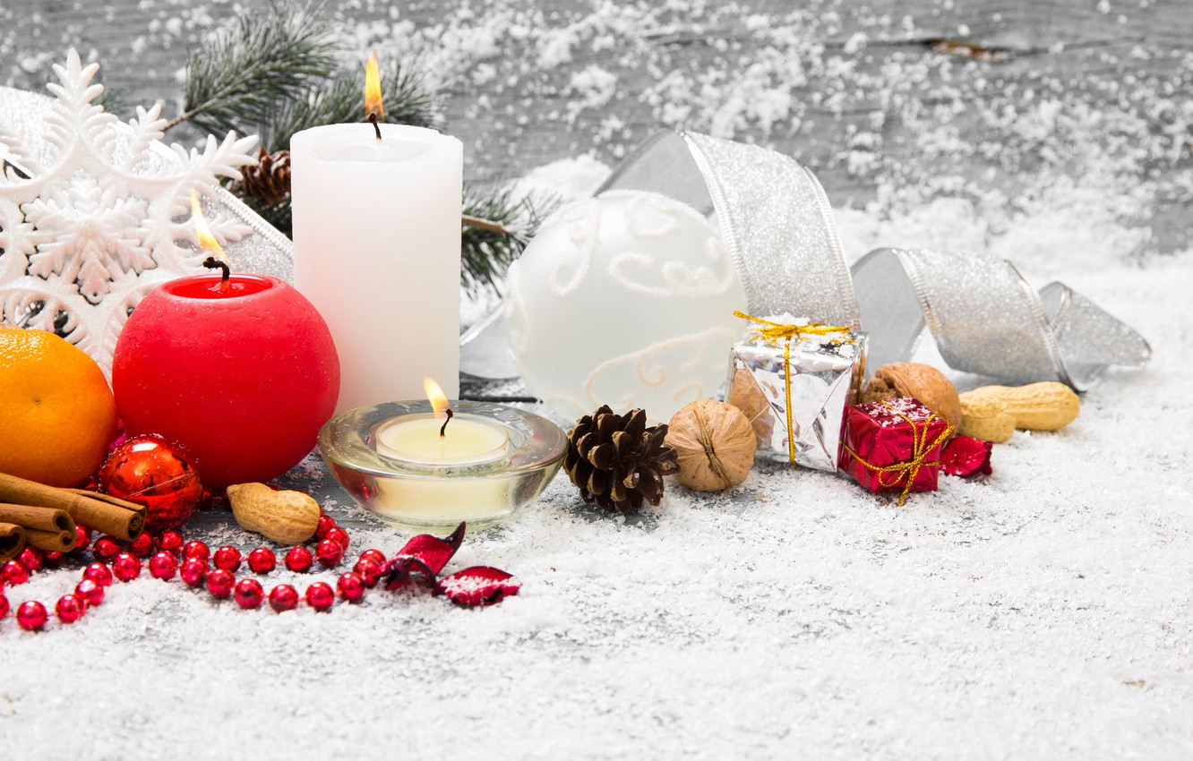 Photo wallpaper snow, decoration, tree, candles, New Year, Christmas, gifts, Christmas, snow, Merry Christmas, Xmas, gift, decoration, …