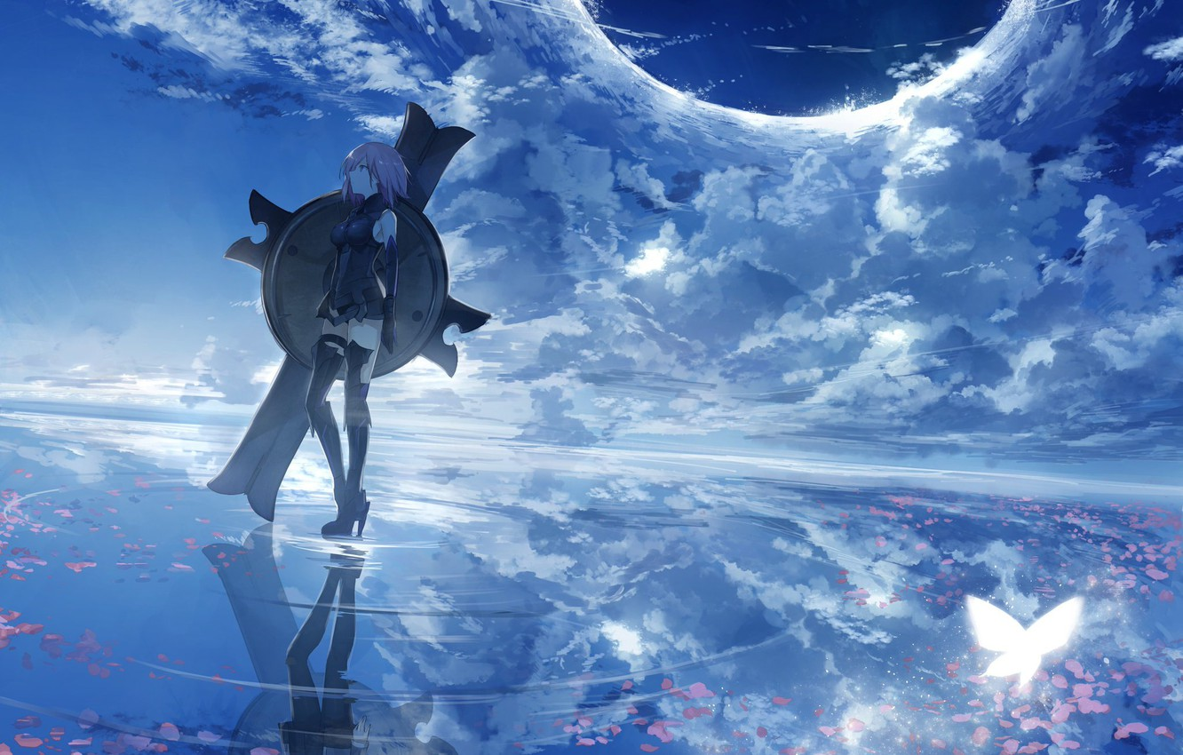 Photo wallpaper Water, Clouds, Anime
