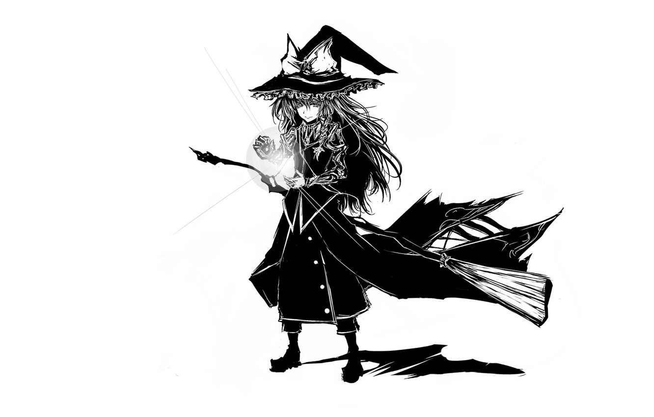 Photo wallpaper spell, broom, art, witch, shaggy, Touhou Project, Marisa Kirisame, black magic, Acryl, witch hat