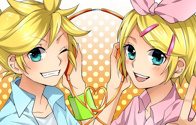 Photo wallpaper girl, joy, guy, two, Vocaloid, Vocaloid, smile, Kagamine Len, Kagamine Rin