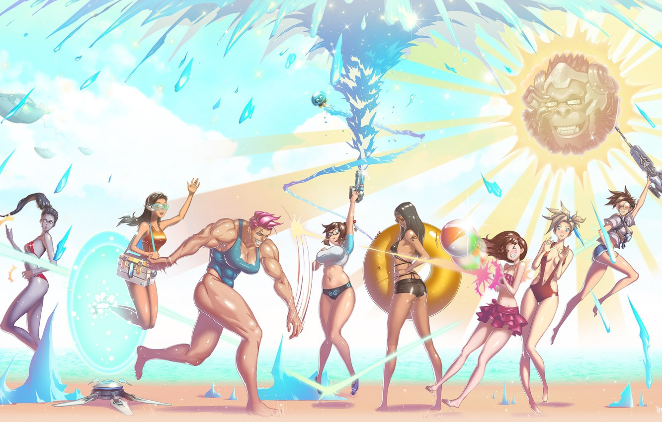 Photo wallpaper beach, swimsuit, summer, water, girls, Mei, Overwatch, Tracer, Widowmaker, Lena Oxton, Amélie Lacroix, Mercy, Pharah, …