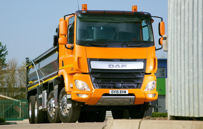 Photo wallpaper orange, Parking, body, DAF, DAF, dump truck, 8x4, DAF CF
