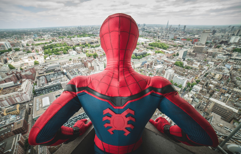 Photo wallpaper city, cinema, spider, boy, Marvel, movie, Spider-man, hero, Boy, film, mask, Spiderman, uniform, yuusha, seifuku, …