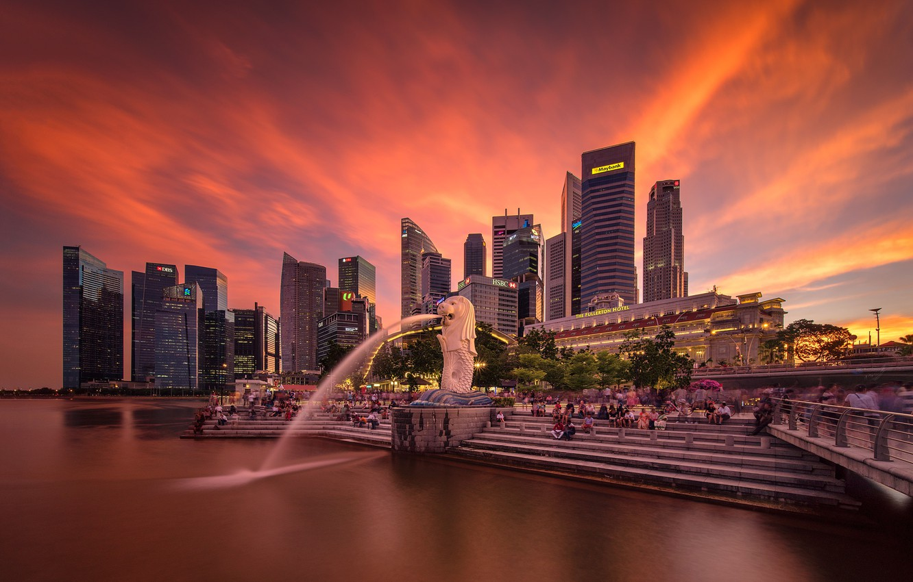 Photo wallpaper lights, lights, skyscrapers, Singapore, architecture, megapolis, blue, night, fountains