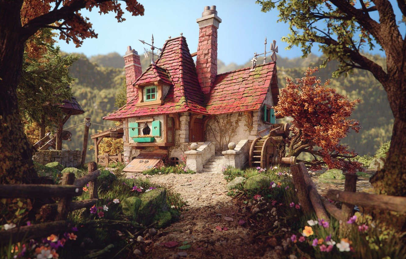 Photo wallpaper art, house, illustration, Beauty and the beast, Belle's Cottage, Rafael Chies