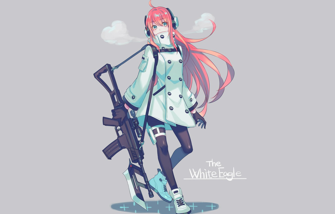Photo wallpaper girl, weapons, grey background