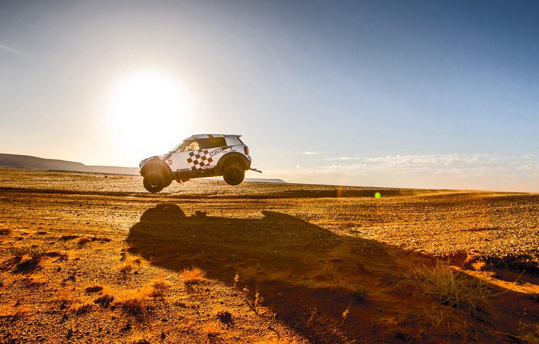 Photo wallpaper Sunset, The sun, The sky, Sand, Mini, White, Sport, Desert, Speed, Jump, Race, Shadow, Heat, …