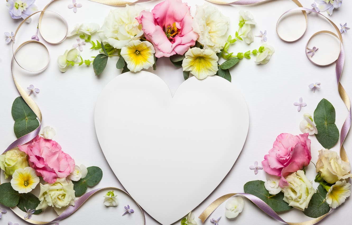Photo wallpaper flowers, heart, tape, love, heart, wood, pink, flowers, beautiful, romantic, composition, frame, floral