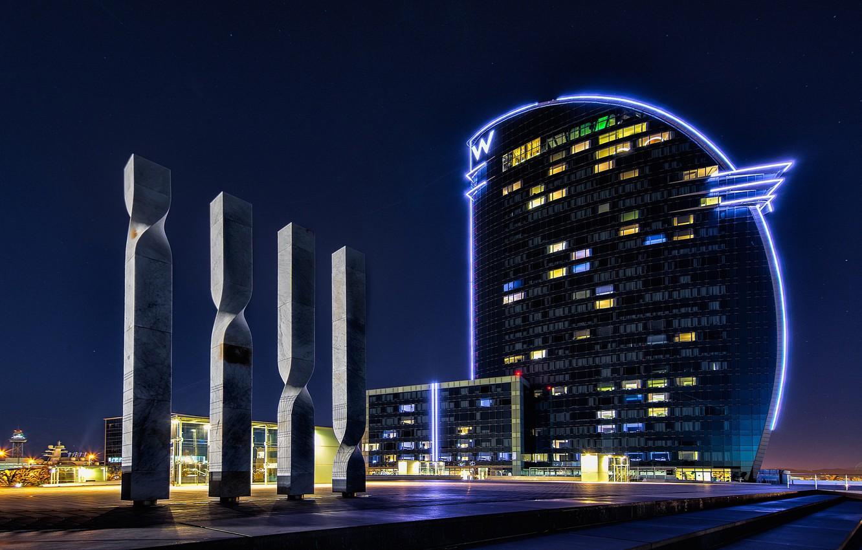Photo wallpaper night, lights, backlight, Spain, Barcelona, Ciutat Vella
