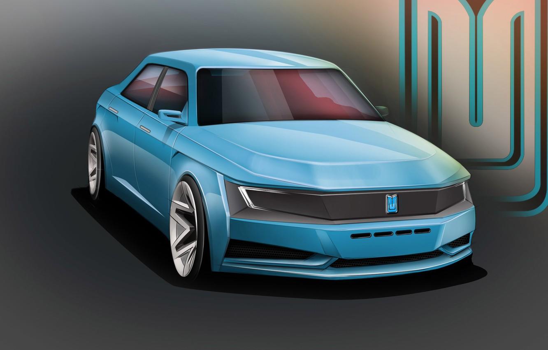 Photo wallpaper Auto, The concept, Bumper, Car, Car, Art, Auto, Before, Muscovite, Moskvich 2020, Muscovite 2020