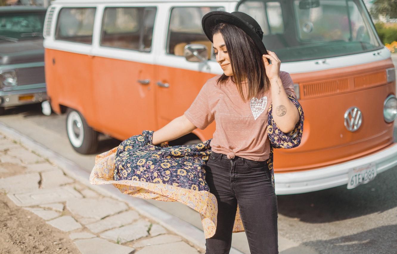 Photo wallpaper girl, pose, hat