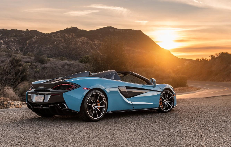 Photo wallpaper sunset, McLaren, supercar, rear view, 2018, Spider, 570S