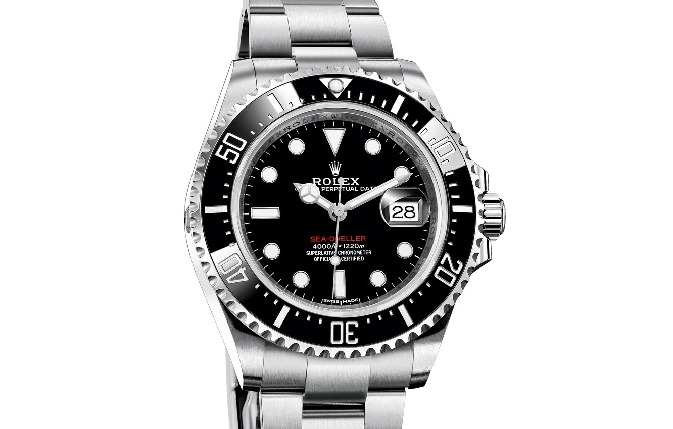 Photo wallpaper time, arrows, watch, watch, chronometer, Rolex, white background, The Rolex Oyster Perpetual Sea-Dweller Ref
