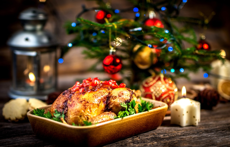 Photo wallpaper decoration, New Year, Christmas, Christmas, Merry Christmas, Xmas, festive table, decoration, Turkey, serving, treat, holiday …