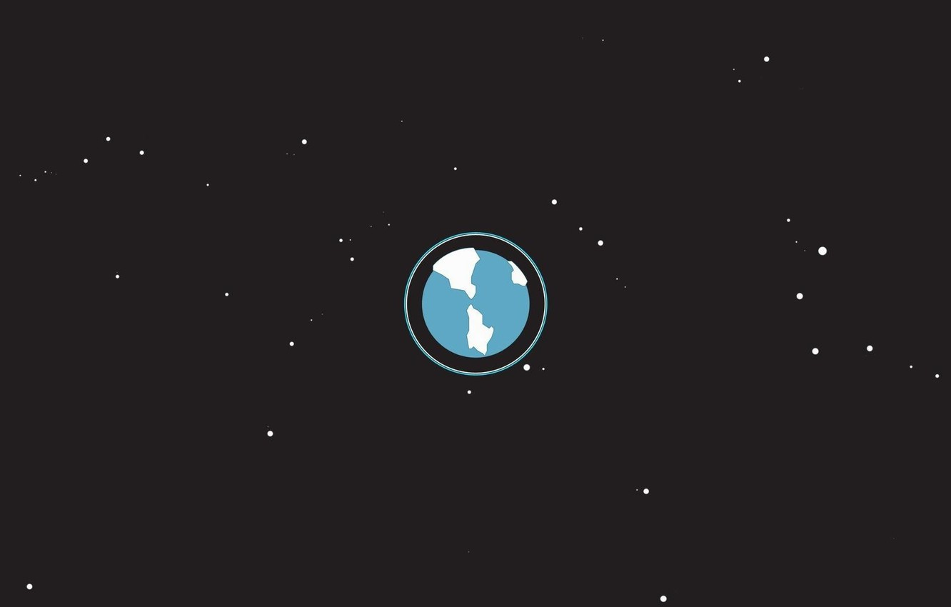Photo wallpaper space, planet, stars, continents, oceans