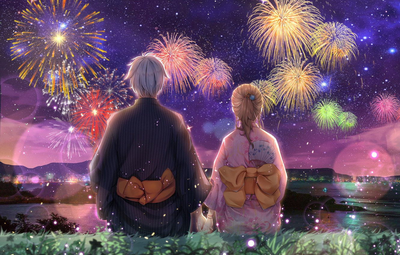 Photo wallpaper holiday, pair, fireworks
