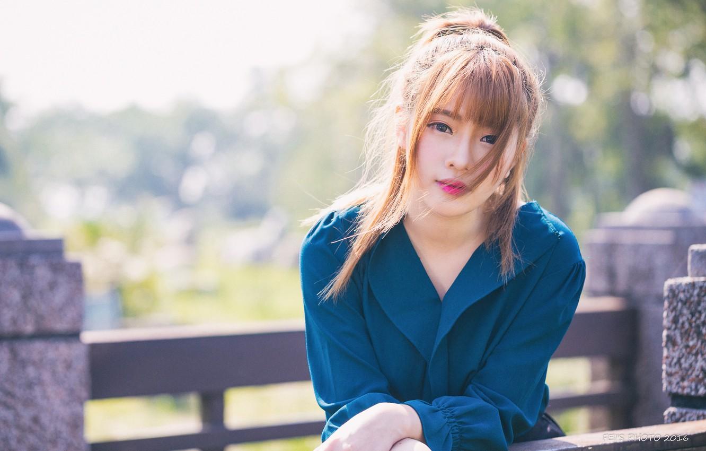 Wallpaper Cute Asian girl back view grass summer x HD