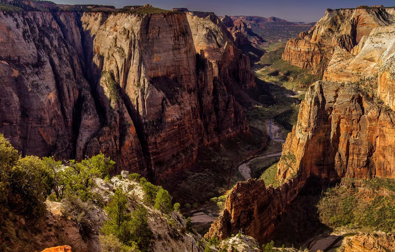 Wallpaper The Sun Trees Mountains Stones Rocks Height