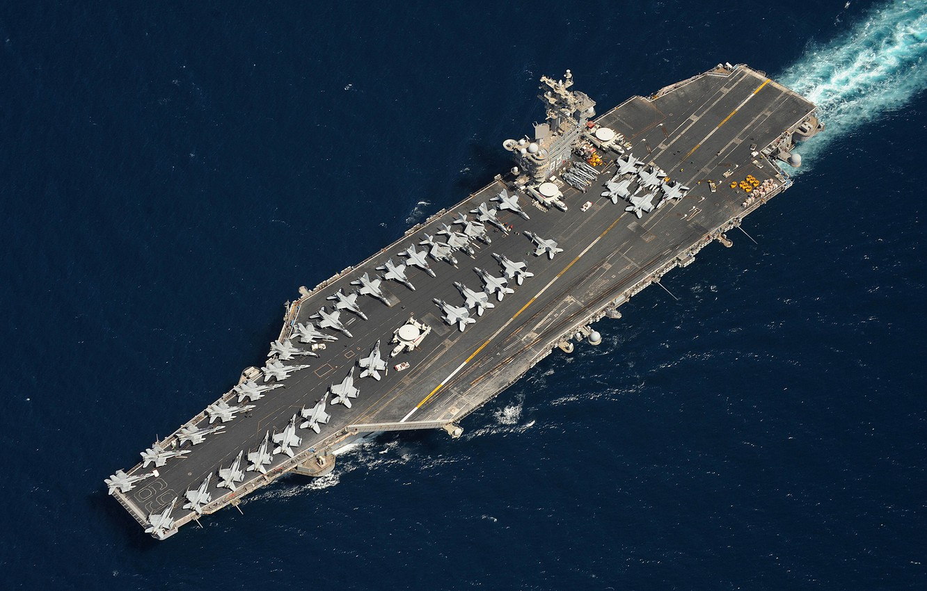 Photo wallpaper military, ship, carrier, jets, Aircraft