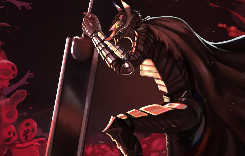 Photo wallpaper demon, sword, blood, game, armor, devil, sky, anime, night, power, man, fight, ken, wolf, blade, …