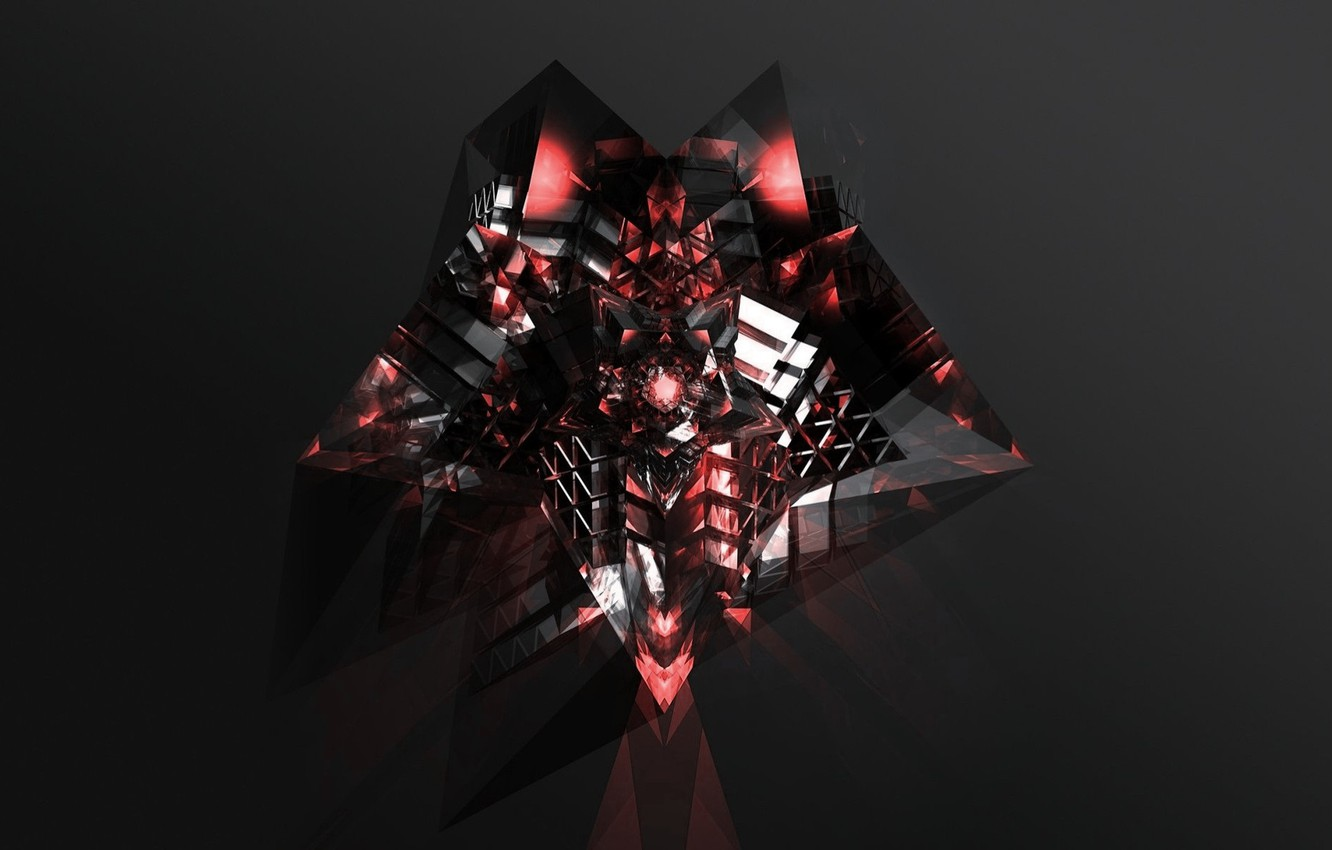 Photo wallpaper crystal, rendering, fiction, black background, flickering, light and shadow, dark red