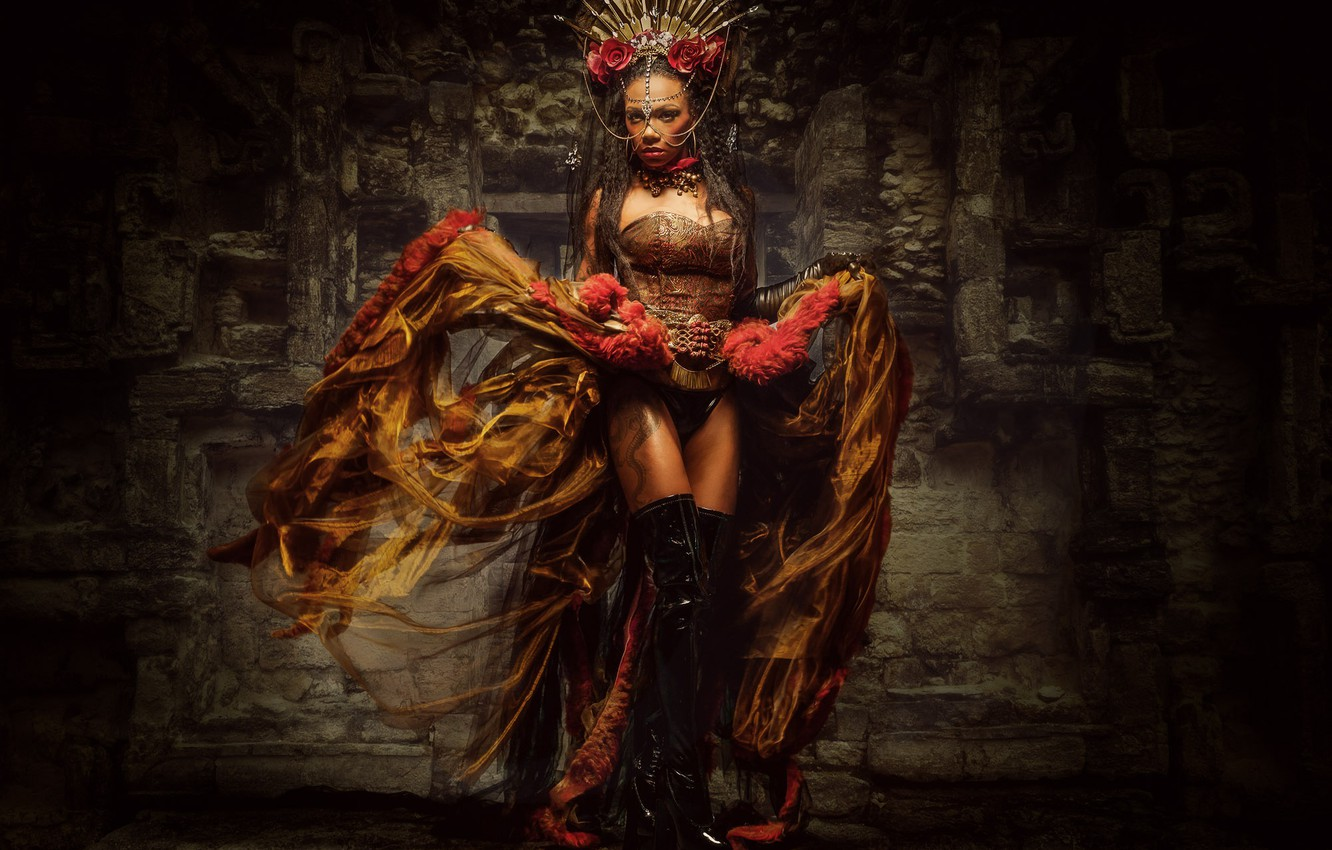 Photo wallpaper girl, style, boots, crown, dress, Queen of Chicanna