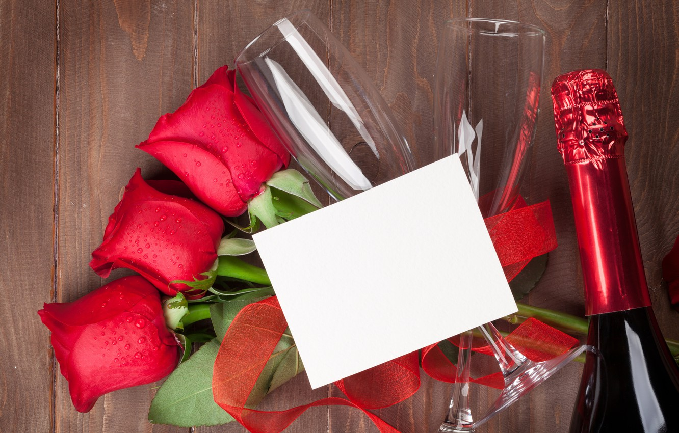 Photo wallpaper love, flowers, roses, bouquet, glasses, red, red, love, wood, flowers, romantic, Valentine's Day, gift, roses