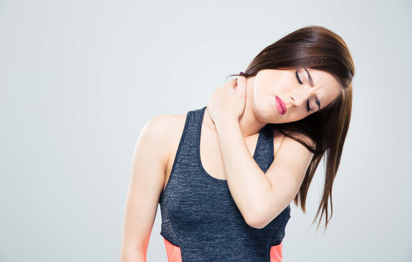 Photo wallpaper Brunette, neck, contracture, backache