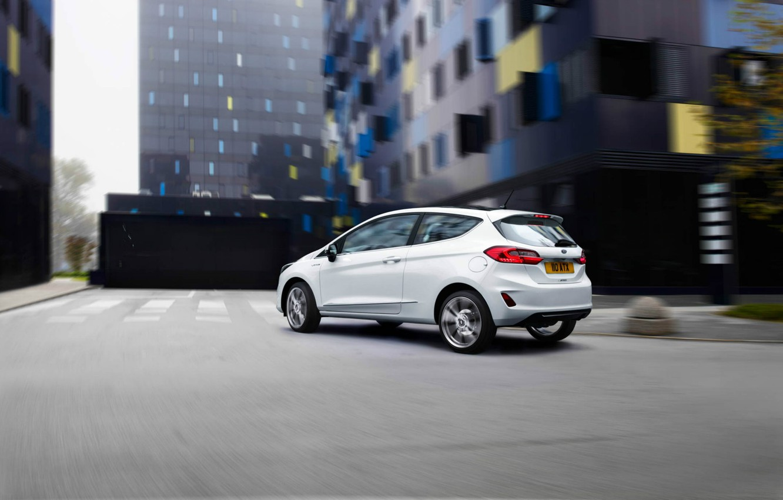 Photo wallpaper white, Ford, Fiesta, hatchback, 2017, Vignale