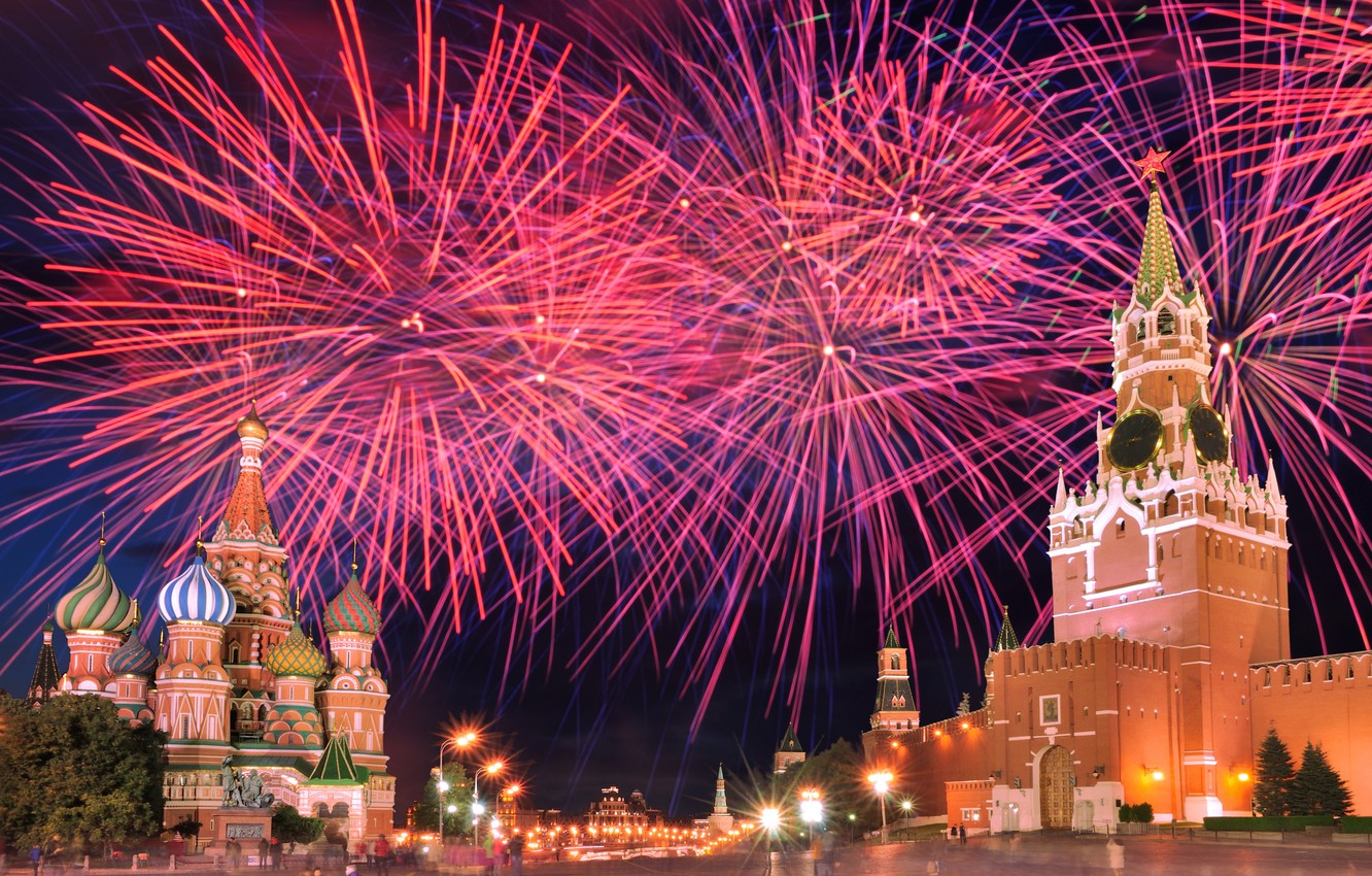 Photo wallpaper night, salute, Moscow, The Kremlin, Russia, Red square, Moscow, Kremlin