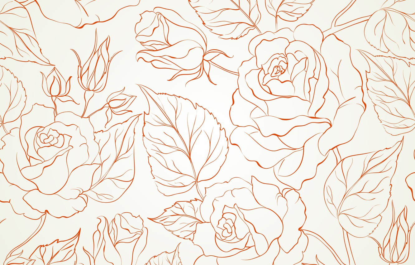 Photo wallpaper flowers, texture, rose, buds, background, seamless