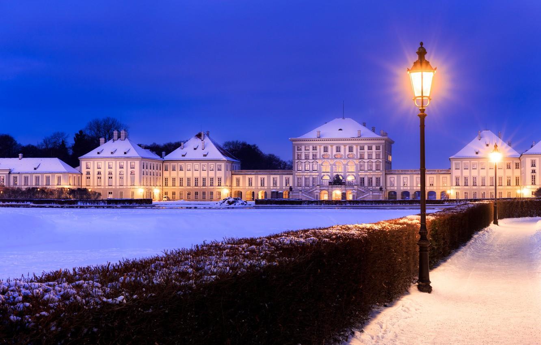 Photo wallpaper lights, Munich, Bayern, lights, Germany, Bavaria, winter.snow