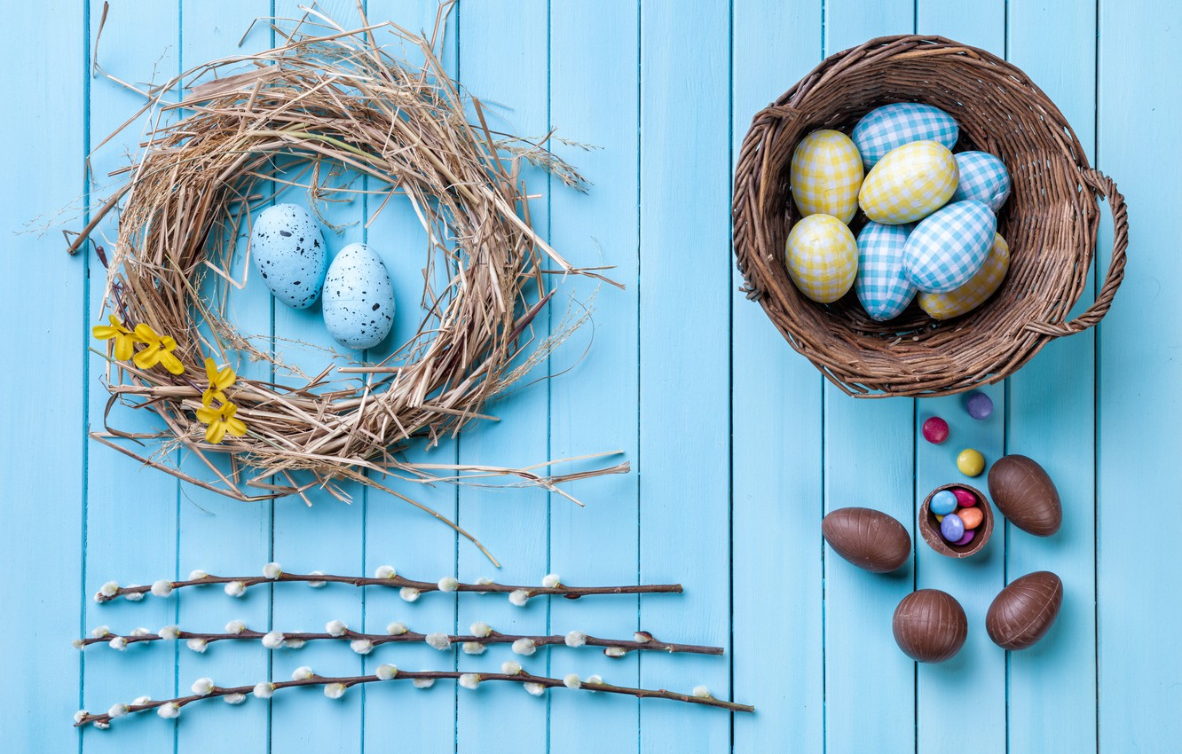 Photo wallpaper chocolate, eggs, colorful, candy, Easter, wood, Verba, chocolate, spring, Easter, eggs, candy, decoration, Happy