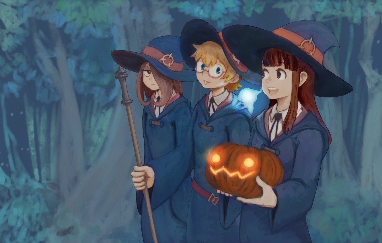 Photo wallpaper girl, forest, hat, anime, asian, witch, japanese, oriental, asiatic, bishojo, shounen, mahou, Little Witch Academia