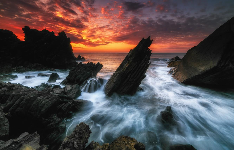 Photo wallpaper wave, the sky, sunset, nature, rocks