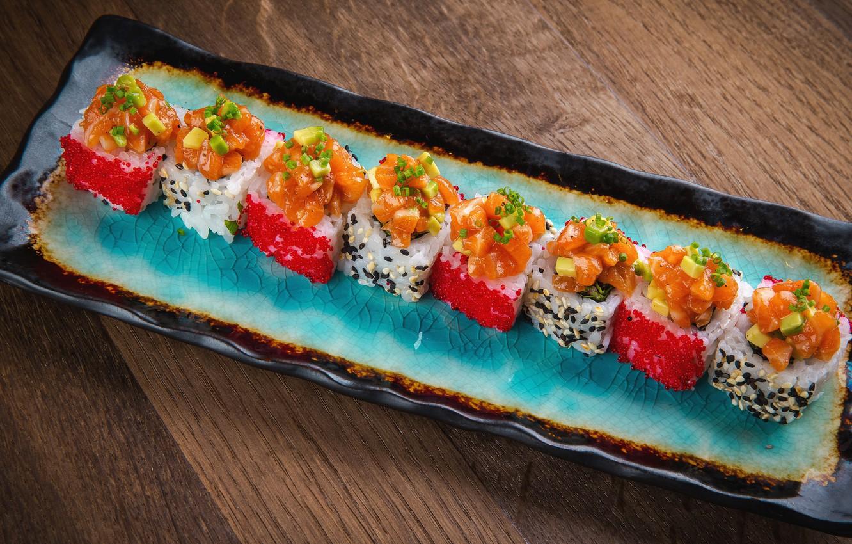 Photo wallpaper food, figure, caviar, rolls