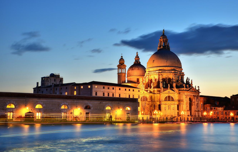 Photo wallpaper backlight, Italy, Venice, channel, Venice, Grand Canal, Santa Maria della Salute