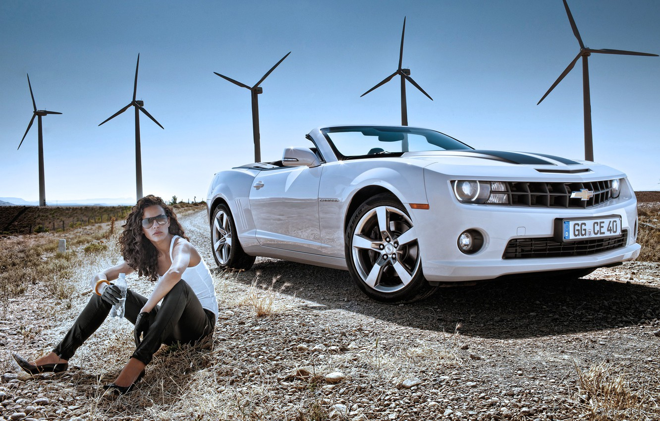 Photo wallpaper girl, Road, windmills, 2011, Chevrolet Camaro Convertible