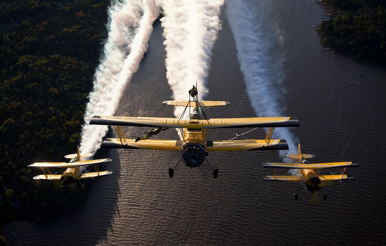 Photo wallpaper river, aircraft, show, flight, biplanes