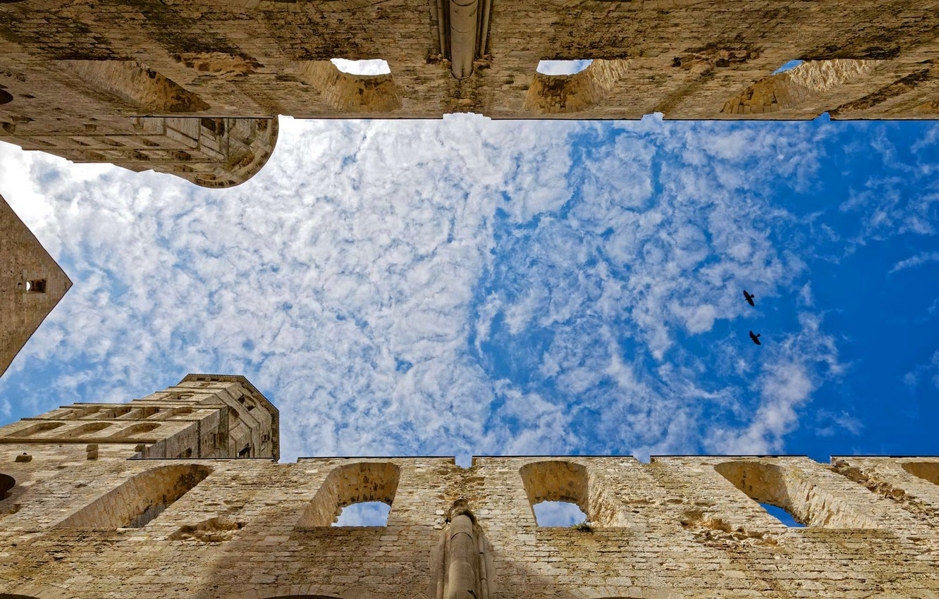 Photo wallpaper the sky, clouds, birds, France, architecture, Jumièges Abbey