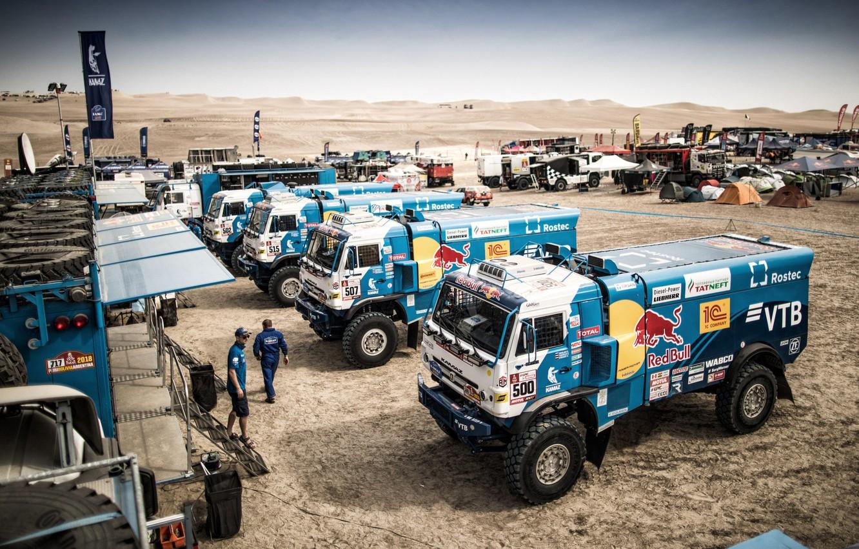 Photo wallpaper Sand, Town, Truck, Master, Russia, 500, Kamaz, Rally, Dakar, Dakar, Rally, KAMAZ, 507, 502, RedBull, …