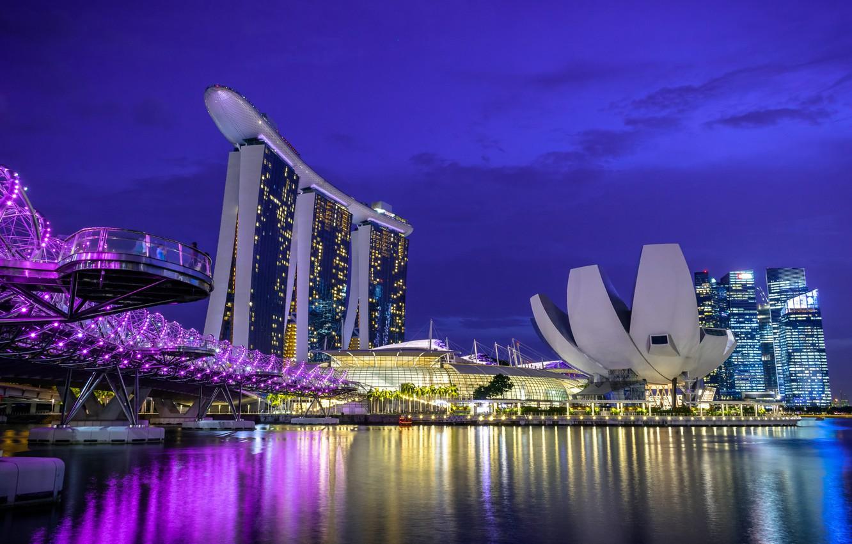 Photo wallpaper night, lights, Singapore, the hotel