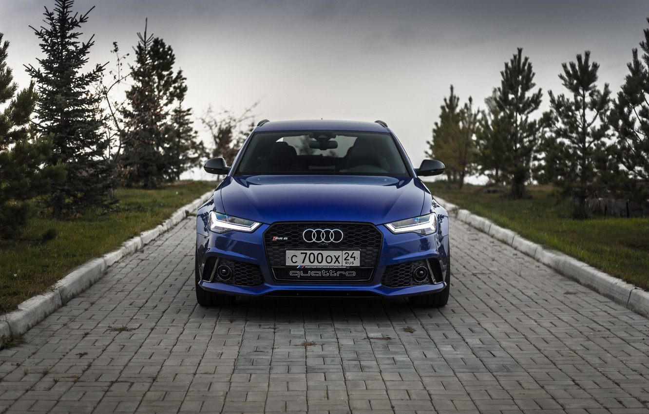 Photo wallpaper Audi, Russia, Blue, Front, Before, RS6, VAG